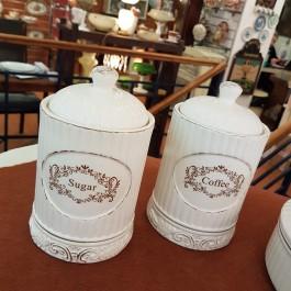 Σετ βάζα καφέ-ζάχαρη Vintage