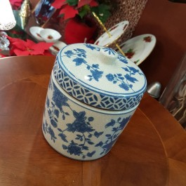 Crakle blue porcelain μπισκοτιέρα στρογγυλή