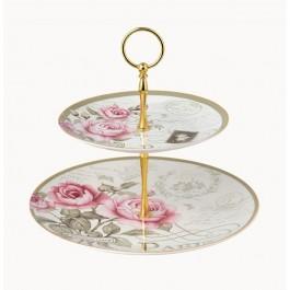 Πιατέλα-Τουρτιέρα 2όροφη Floral Paris Roses