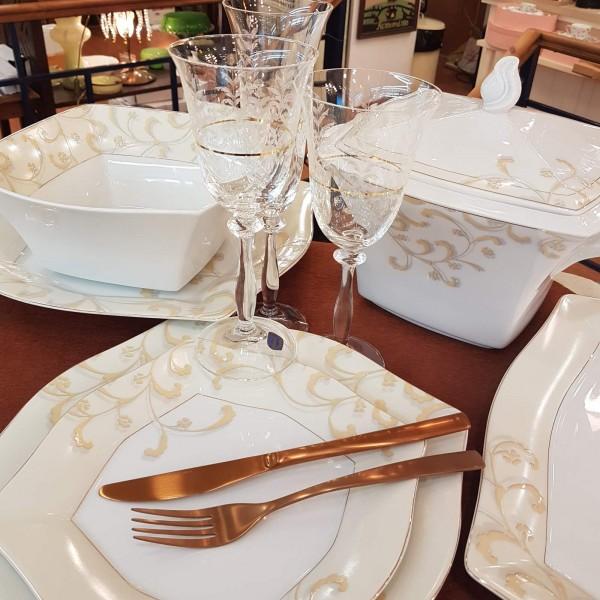 Hausmann ivory-gold fine bone porcelain σετ 72τεμ.